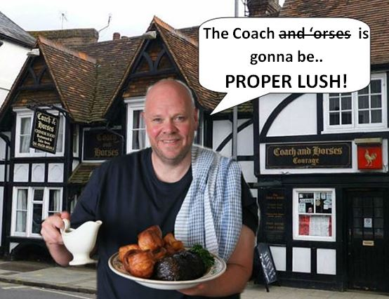 Tom kerridge reveals plans for the coach my marlow an artists impression of what tom might look like outside the pub and what he might say forumfinder Choice Image