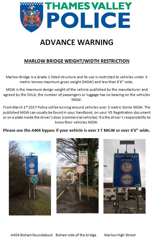 thames valley police bridge warning