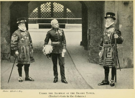 General Sir George Higginson under the archway of the Bloody Tower at the Tower of London
