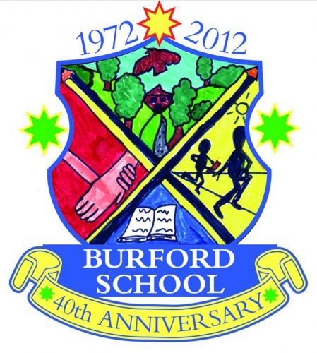 Burford 40th Anniversary crest, created by Jemima Hay, 8 yrs old