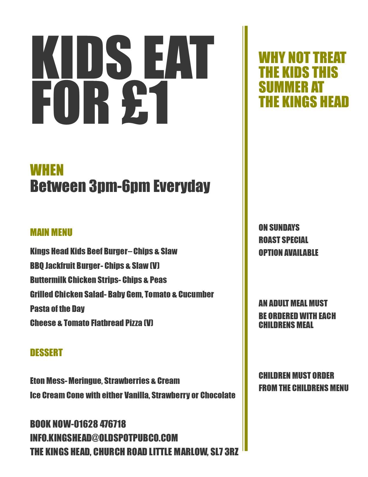 Kings Head Kids £1 Menu