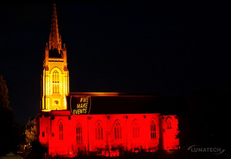 Marlow church lit up red