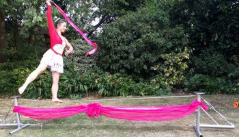 Circus performers in Marlow town centre